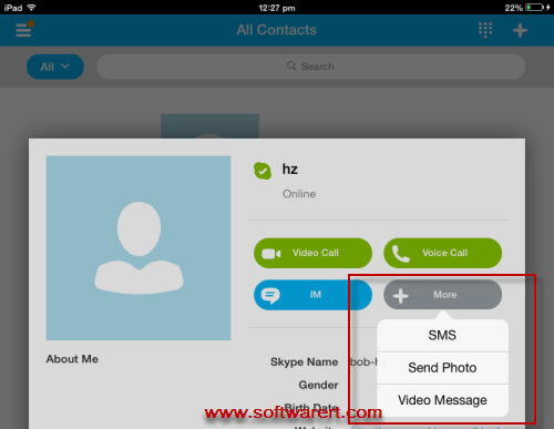 send photos through skype on ipad