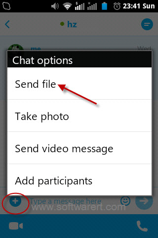 send photos using skype on android phone
