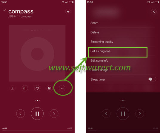 set a song in music app as ringtone on xiaomi redmi phone