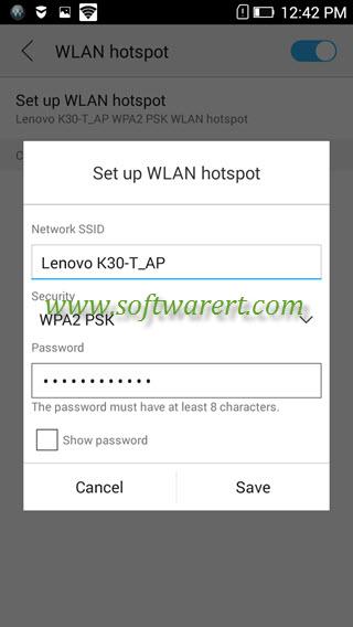 setup wifi hotspot on lenovo phone