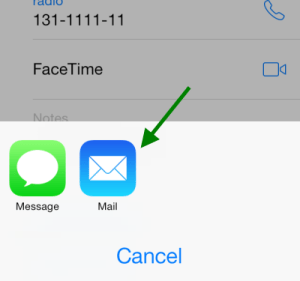 share contacts through email on iphone