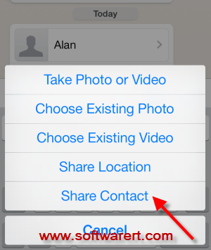 share contacts through whatsapp on iphone