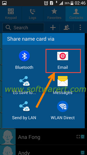 share name card via email on samsung mobile phone