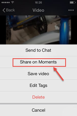 share video on wechat moments from iphone