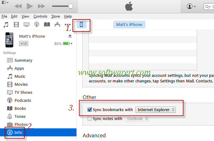 sync bookmarks from computer to iphone through itunes