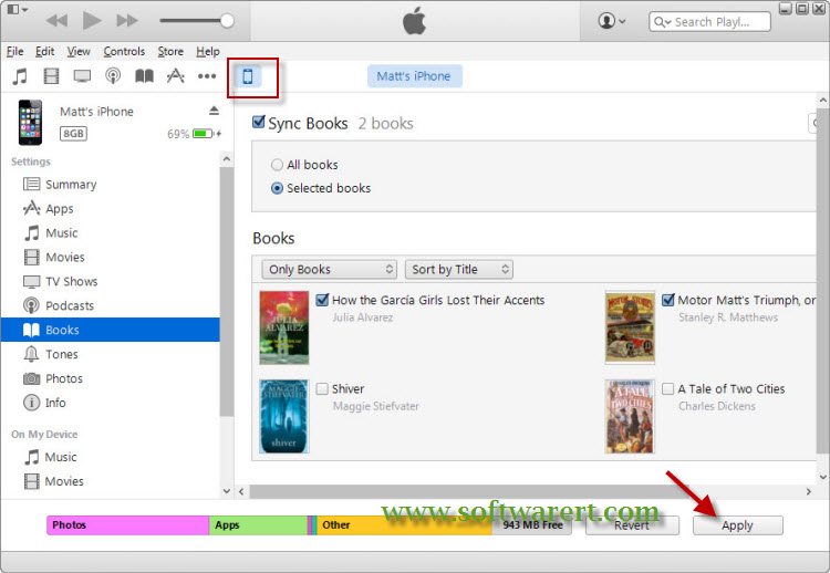 sync books from PC to iphone through itunes