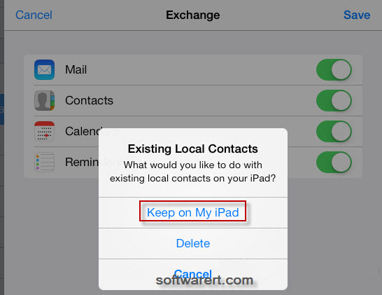 sync gmail contacts to ipad via exchange