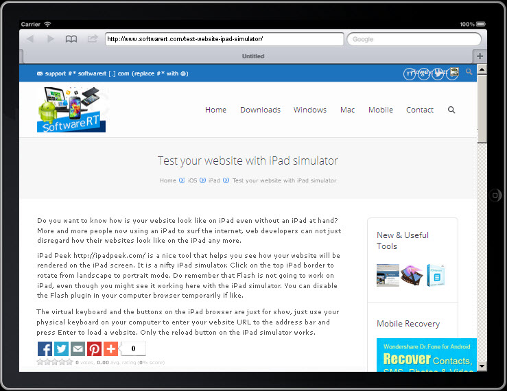 Test your website with iPad simulator