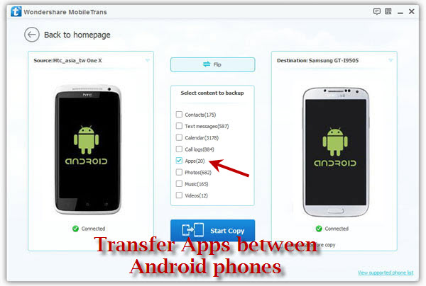 Transfer Apps between Android phones
