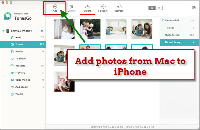 transfer photos from mac to iphone