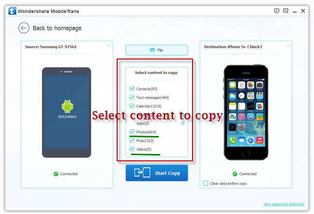 transfer photos videos from android to iphone using mobile transfer