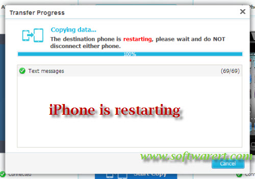 reboot iphone during SMS transfer