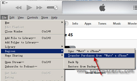 transfer purchases including music songs from iphone to itunes library