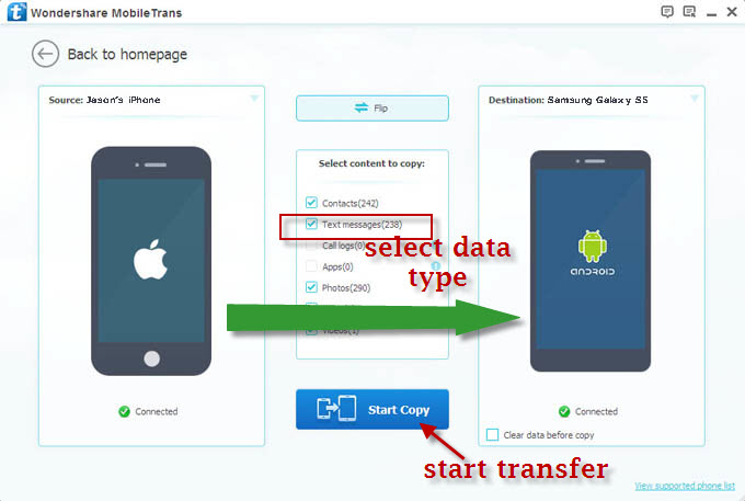 Transfer SMS to Samsung Galaxy Phones
