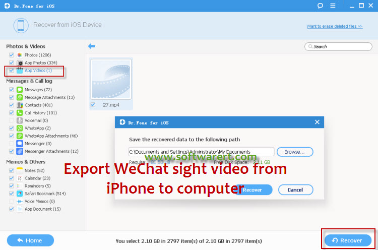 transfer wechat sight videos from iphone to computer