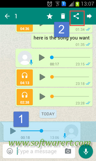 Save WhatsApp audio, music, voice messages and recordings on