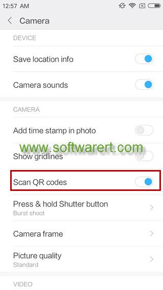 xiaomi redmi phone camera scan qr codes settings
