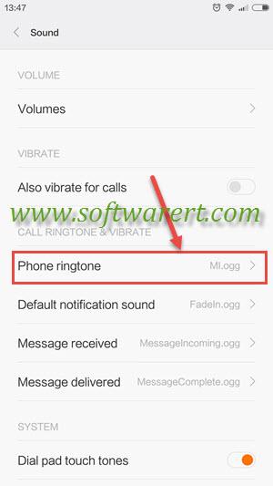 xiaomi redmi sound and phone ringtone setting