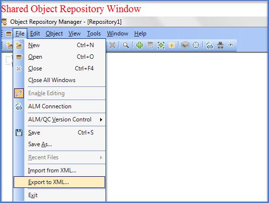 UFT Shared  Repository Window