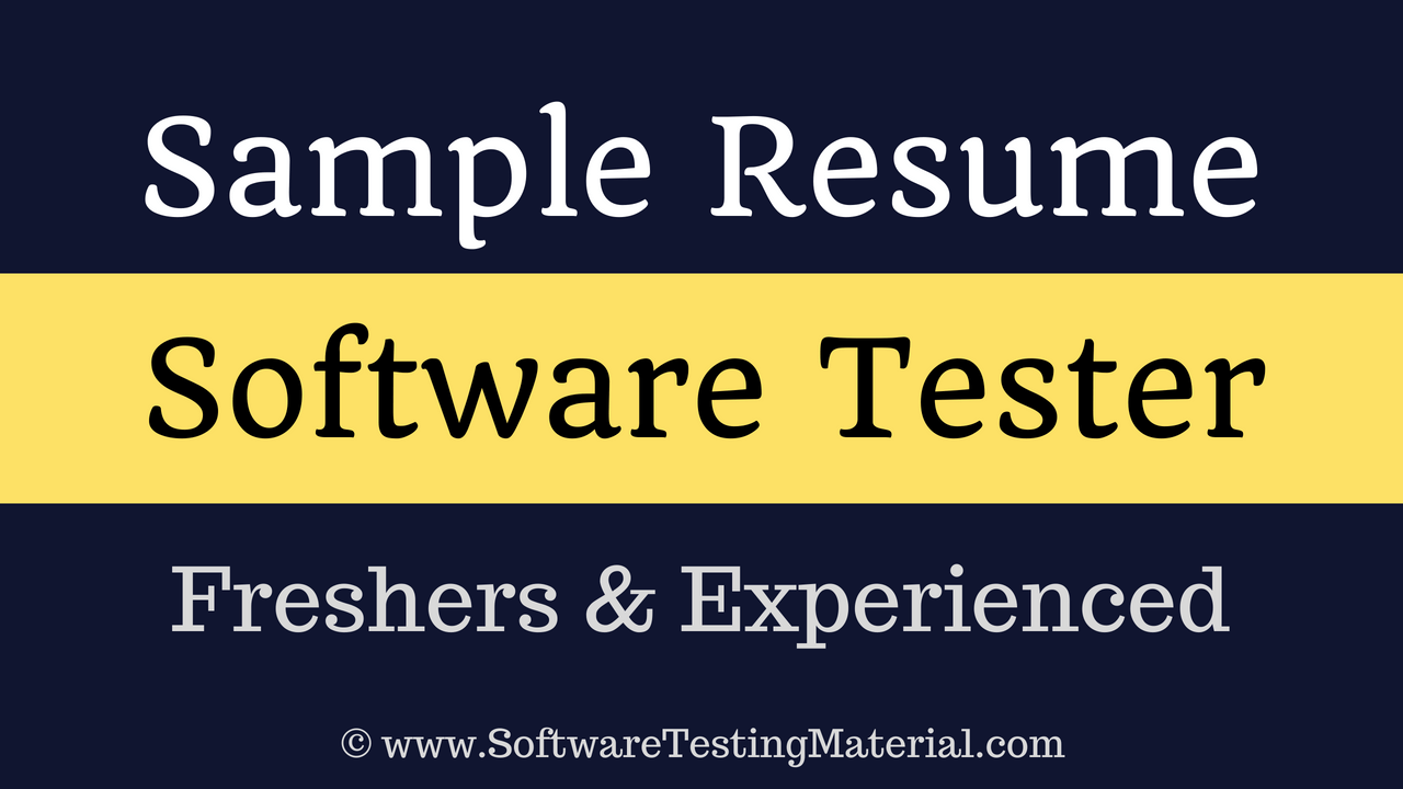 Software Testers Resume