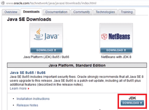 Install Java - Click JDK Download