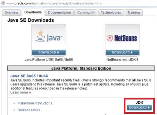 Install Java - Click JDK Download
