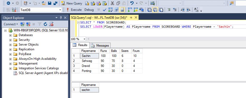 SQL String Functions Lower