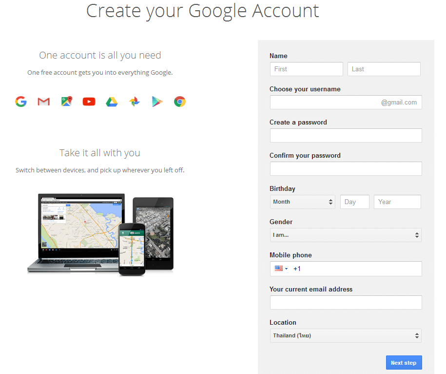 Gmail Registration Page