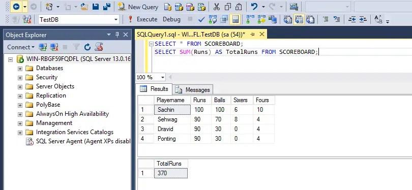 SQL Aggregate Functions Sum
