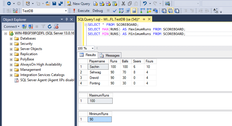 SQL Aggregate Functions Max Min