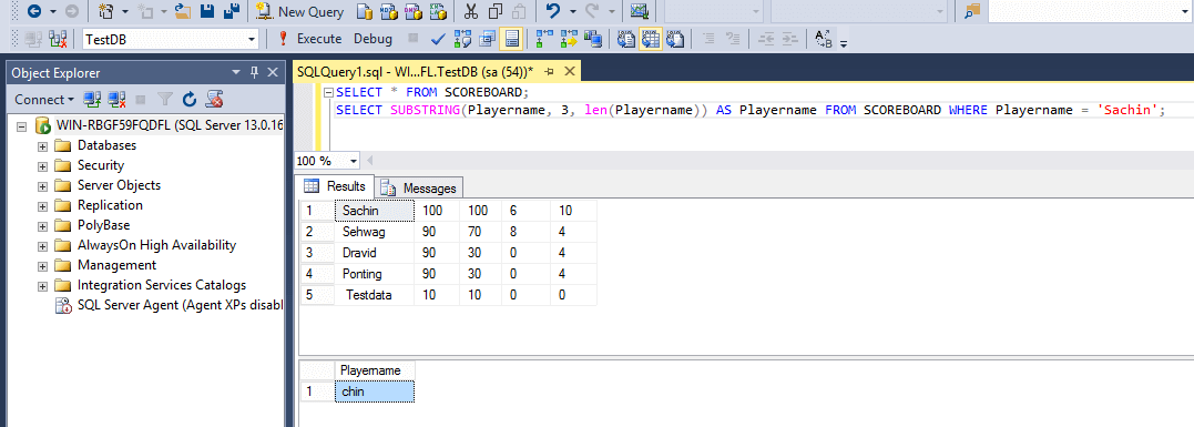 SQL String Functions Substring