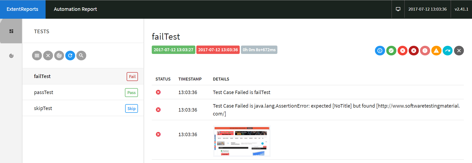 Screenshot Failed Test Case Extent Reports