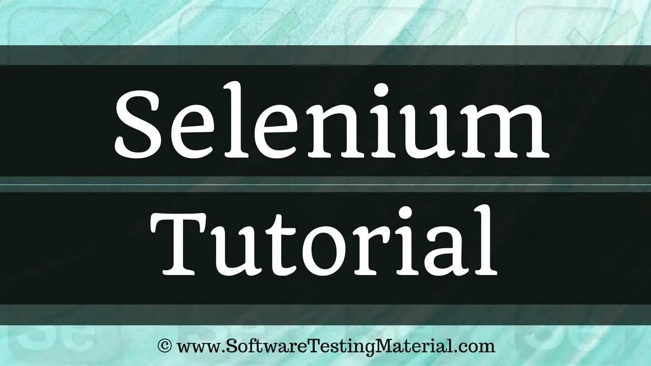 Selenium Tutorial Best Free Selenium Training Tutorial Beginner