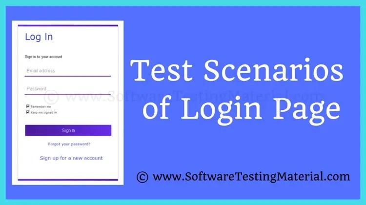 Test Scenarios Login Page