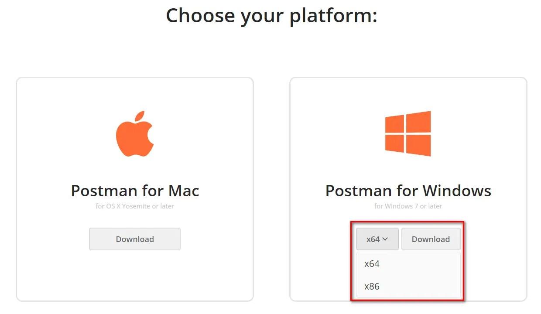 Install Postman Choose Windows Version