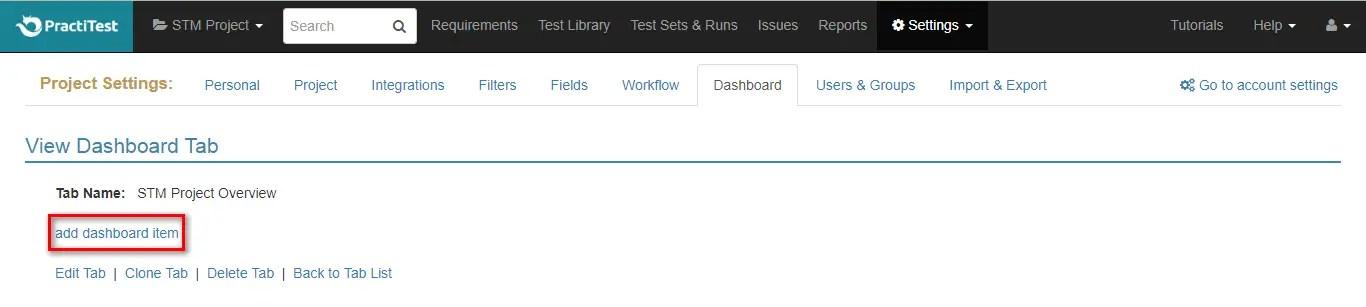 PractiTest Add Dashboard Items