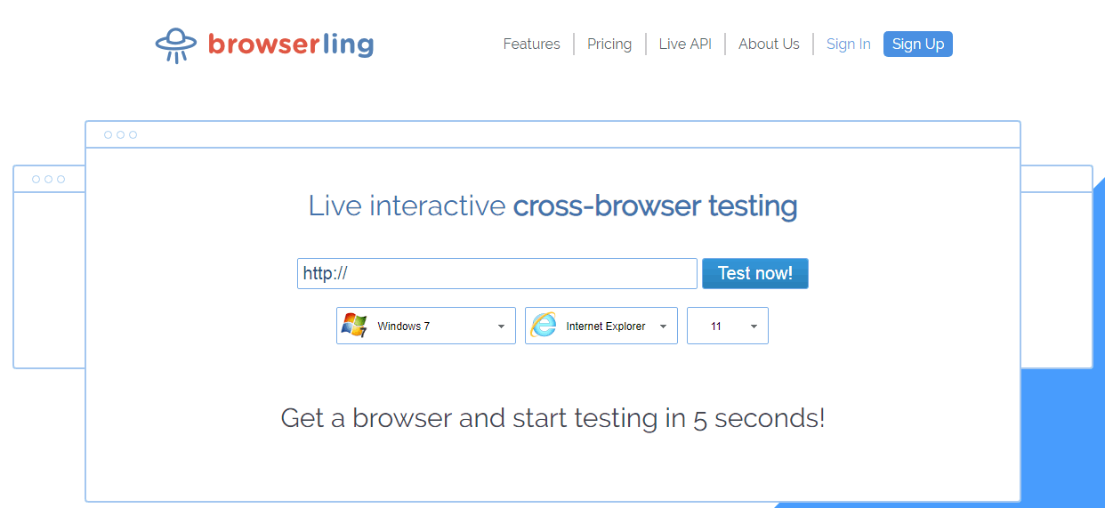 Browserling compatibility Testing Tool