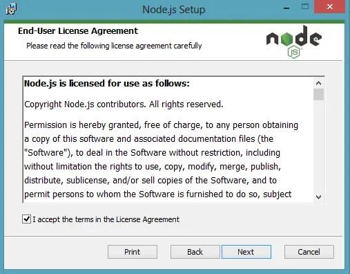 Download NodeJs Accept Terms