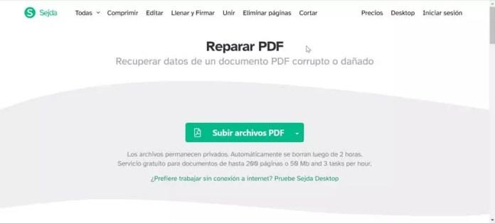 Sejda repair PDF