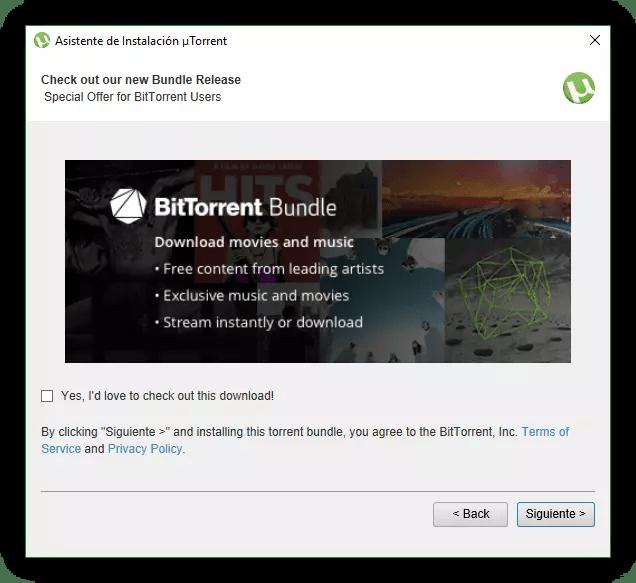 Publicidad uTorrent