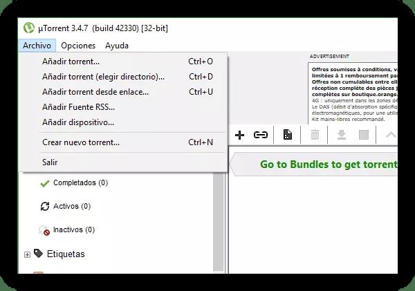 uTorrent - Añadir nueva descarga