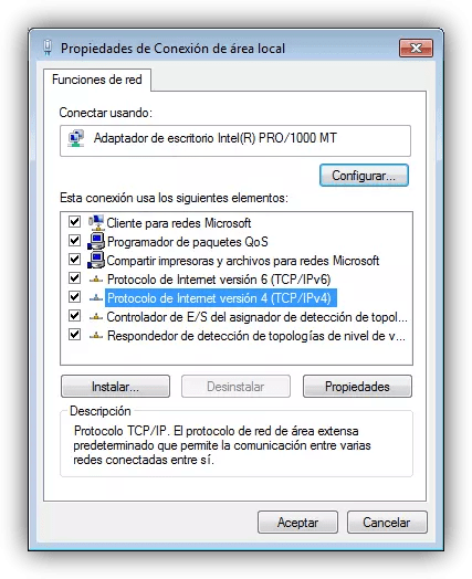 Propiedades adaptador de red en Windows 7