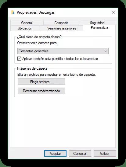 Archivos generales en carpeta de Windows 10