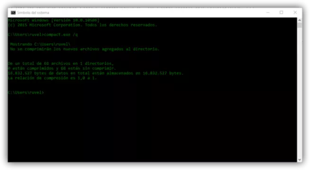 Compact OS desactivado en Windows 10