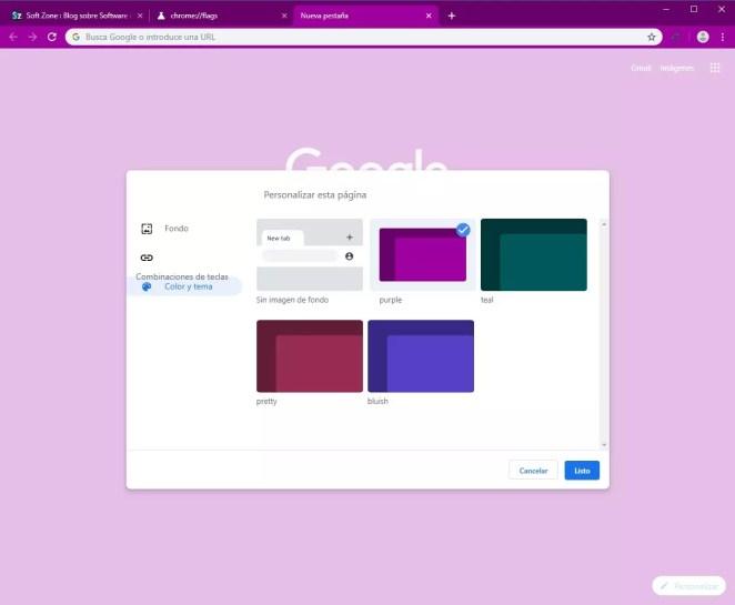 Google Chrome - Opções de personalização Canary - 6