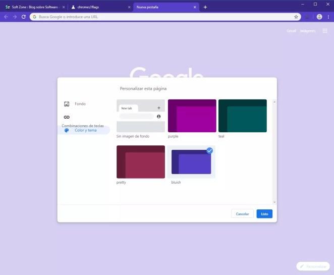 Google Chrome - Opções de personalização Canary - 9