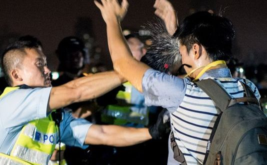 Hong Kong police, protesters clash