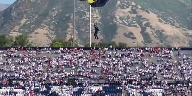 WATCH: Military parachute entrance comes dangerously close to disaster at BYU | SEC Country