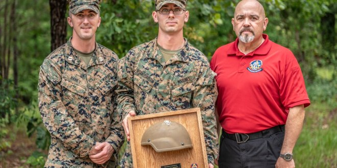 Marine shot in the head in Afghanistan gets back helmet that saved his life | Marine Corps Times