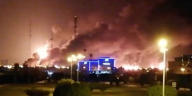 Saudi Arabia oil facilities ablaze after drone strikes | BBC
